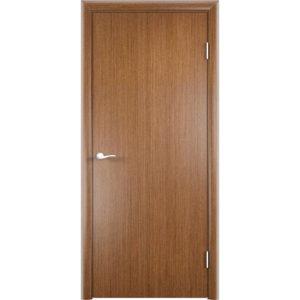 Гладкая шпонированная дверь (темный дуб)