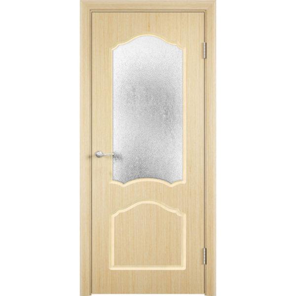 Шпонированная дверь Каролина (со стеклом, беленый дуб)