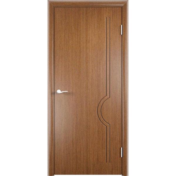 Шпонированная дверь Молния (глухая, темный дуб)