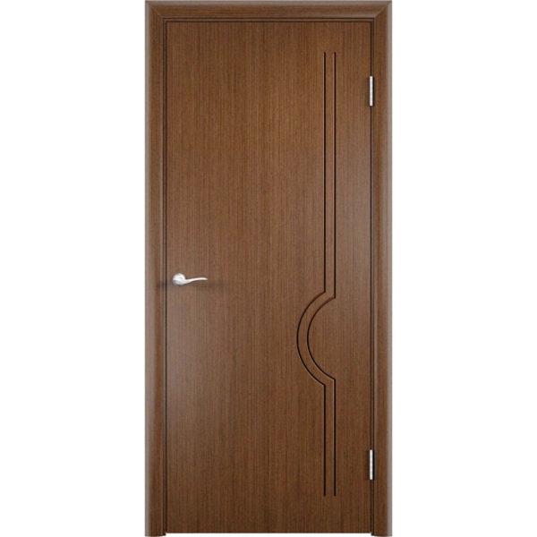 Шпонированная дверь Молния (глухая, темный орех)