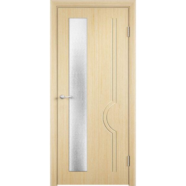 Шпонированная дверь Молния (со стеклом, беленый дуб)