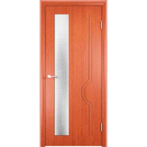 Шпонированная дверь Молния (со стеклом, вишня)
