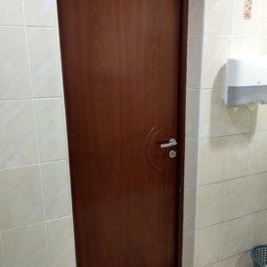 Шпонированная дверь Молния в туалете цвета венге