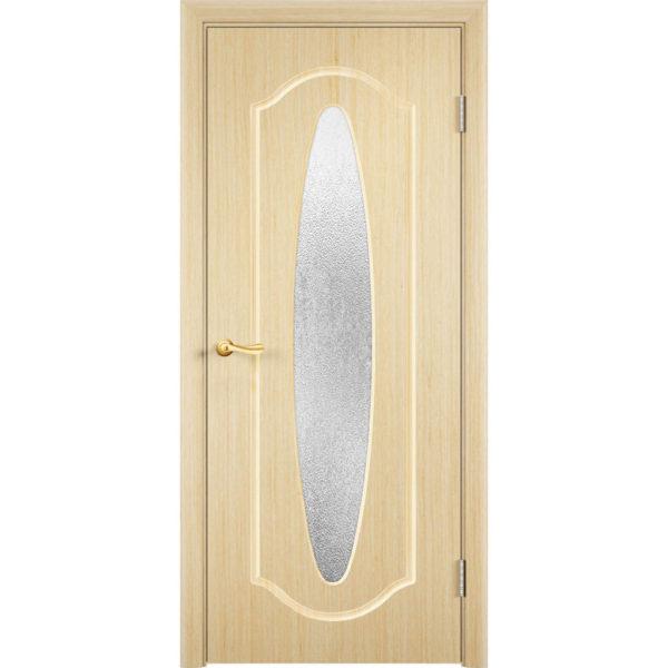 Шпонированная дверь Орбита (со стеклом, беленый дуб)