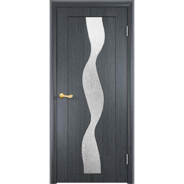 Шпонированная дверь Вираж (со стеклом, серебристый дуб)