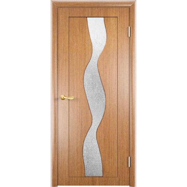 Шпонированная дверь Вираж (со стеклом, светлый орех)